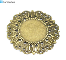 Doreen Box Lovely 30 Antique Bronze Filigree Cabochon Setting Wraps Connectors Embellishments 49mm Dia.(Fit 25mm Dia.) (B18544)(China)