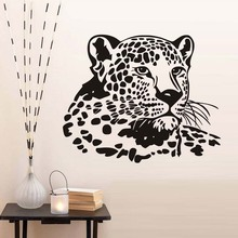 Wall Stickers For Kids Rooms PVC Removable Leopard Head Girls Room Wall Decoration Animal Hollow Out Design(China)