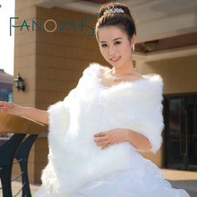 2017 New Arrival High Quality Ivory Faux Fur Bridal Wrap for Wedding Winter Wedding Jacket Wedding Accessories(China)