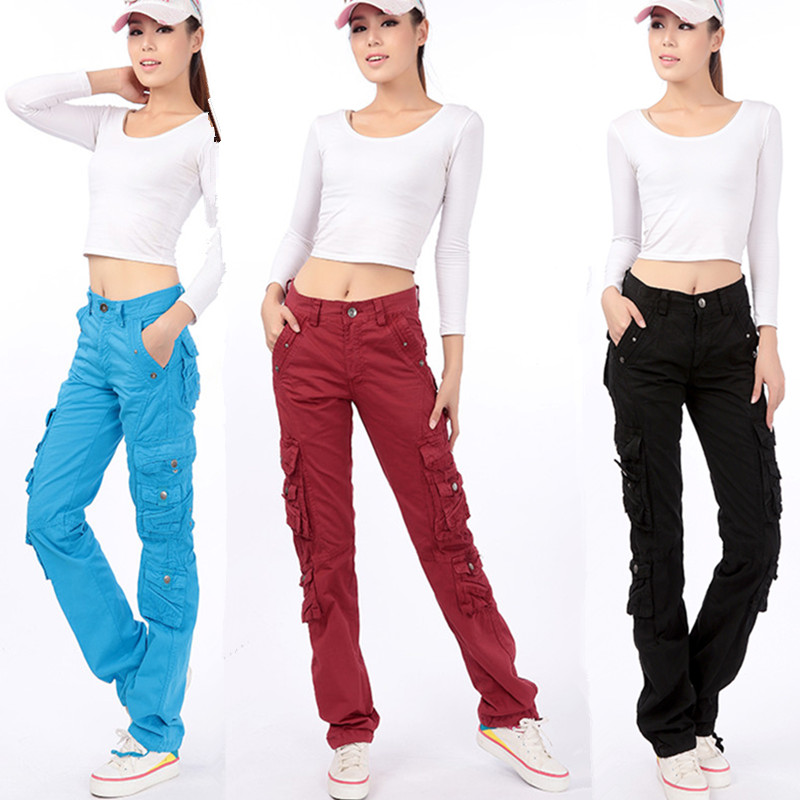 2019 New Arrival Fashion Spring Autumn Pants Loose Jeans Baggy Cargo Pants For Women Girls Free Shipping