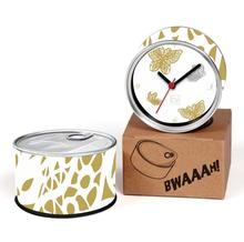 Free Shipping Butterfly 2pcs/lot Golden Butterfly Kitchen Fridge Magnets Aluminum Can Wall Clocks,Metal Tin Table Clocks