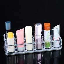 Hoomall Brand 12 Lipstick Holder Display Stand Clear Acrylic Cosmetic Makeup Organizer Storage Box For Jewelry
