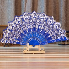 1PCS 7Styles Chinese Style Traditional Lace Bronzing Fabric Folding Fan Home Decor Flower Painting Pattern Polyester Folding Fan