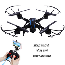 SKYC D20W Drone With Camera WiFi FPV 2MP HD Quadcopter 2.4GHz 6 Axis Gyro Headless Mode RC Helicopter 3D Rollover RTF Dron(China)