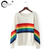 ORDEESON Rainbow Sweater Fall 2017 Fashion Women Sweaters and Pullovers Knitted Sweater Jumper Women Tops Casual O Neck(China)