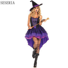 SESERIA Witch Costume Halloween Party Witch Costume Women Sexy Swallow Tail Braces Performances Fancy Dress+Hat(China)