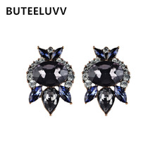 BUTEELUVV Blue Crystal Stud Earrings Elegant Party Wedding Fashion Jewelry Luxury Geometric Rhinestone Flower Earrings for Women(China)
