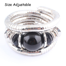 2017 Tibetan Silver Snake Bracelets for Women Men Resin Inlay Simulated Pearl Beads Flexible Bangles Pulseras Mujer B581