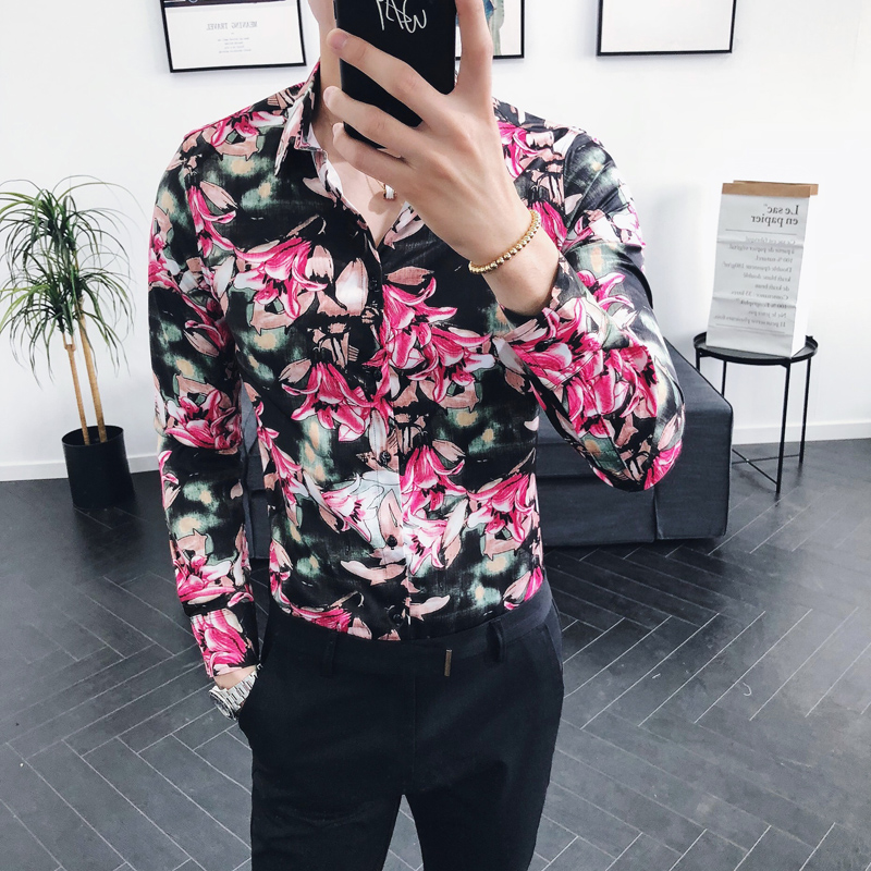 M~2XL 2019 NEW fashion men's casual bar personalized printed long sleeved shirt