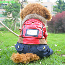 Brand 100% High Quality Cool & Punk Leather Dog Coat Jeans Pet Coverall Dog Outdoor Warm Clothes