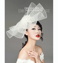 White Black Wedding Bride Veil Hair Accessories Handmade Mesh Hairgrip Fascinator Hat Vintage Fashion Women Floral SHow Headwear