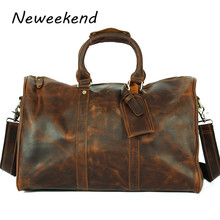 LangDun Retro fashion men crazy horse leather luggage bags Mens 22 inch leather hand bag genuine leather