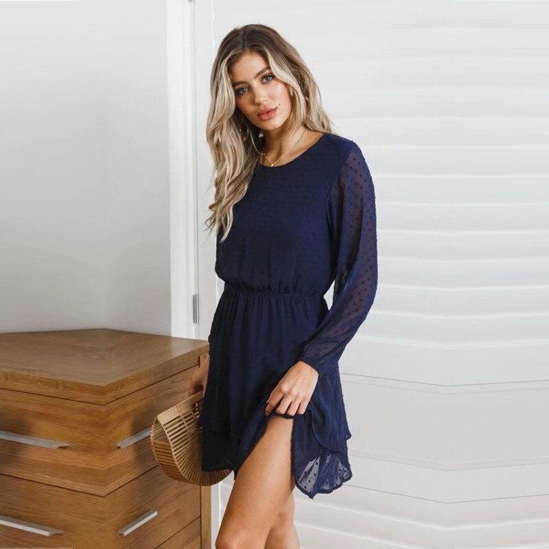 yinlinhe Blue Polka Dot Dress Women Long Sleeve Transparent Elegant Autumn Dress Elasticity Waist Ruffles Mini Vestido 2