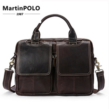 Men Business Bags Male Leather Laptop Tote Genuine Leather Bag Briefcases Men Messenger Bags Zipper Shoulder Bags MLT7223