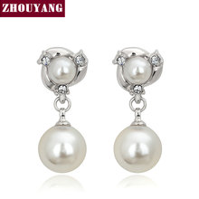 ZYE082 Two Imitation Pearls Silver Color Stud Earrings Jewelry Made with Genuine Austrian Crystal Wholesale