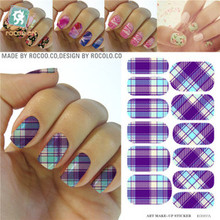 Rocooart KG007A Water Transfer Foils Nail Art Sticker Minx Manicure Decoration Tools Purple Nail Wraps Nail Polish Stickers(China)