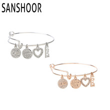Hot Selling DIY Wire adjust Bangle Bracelet with 4pcs Infinite Crystal Charms for Women's  Jewelry 1pcs