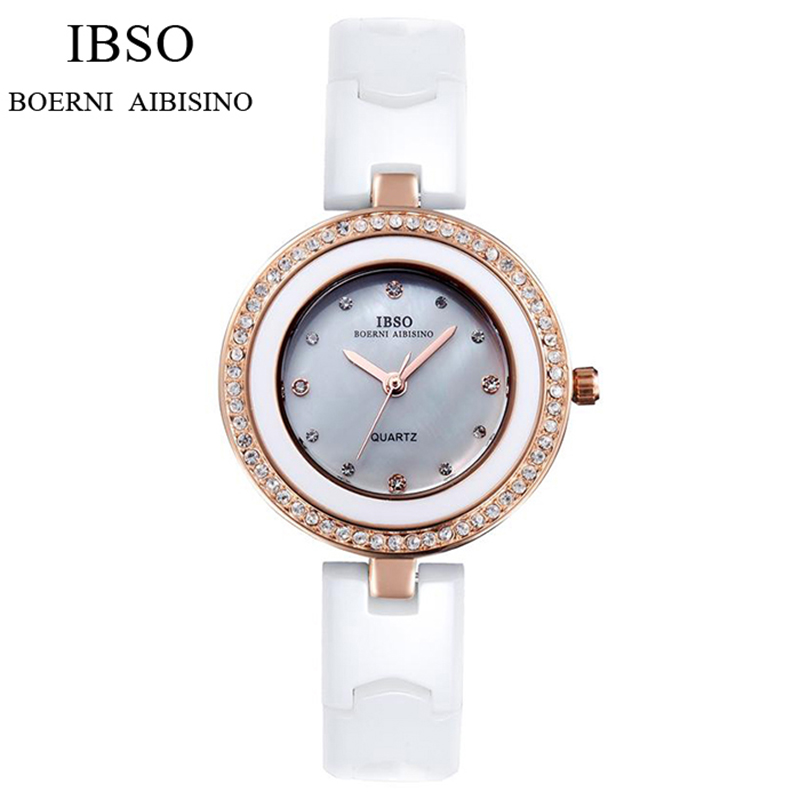 IBSO High Quality Ceramic Strap Watch Women Brand Luxury Women Watches 2017 Crystal Diamonds Fashion Ladies Watches Montre Femme<br><br>Aliexpress