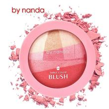 3 Colors BY NANDA Baked Blush Makeup Cosmetic Natural Baked Blusher Powder Palette Charming Cheek Color Make Up Face Blush