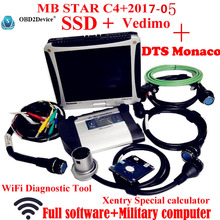 Top Quality mb star c4 sd connect 2017-05 Vediamo+DTS 8 mb star sd c4+Military Notbook CF19 mb star sd c4 work with car truck