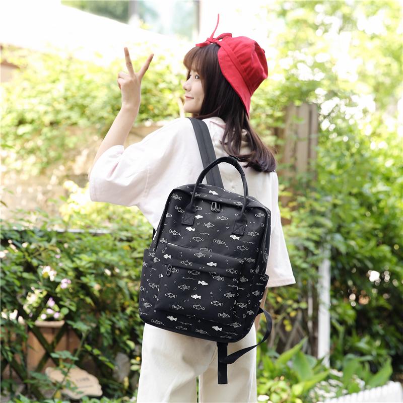 Menghuo Fish Printing Women School Bag Backpack for Teenage Girls Backpacks Female Canvas Children Schoolbag Women Bag s (50)