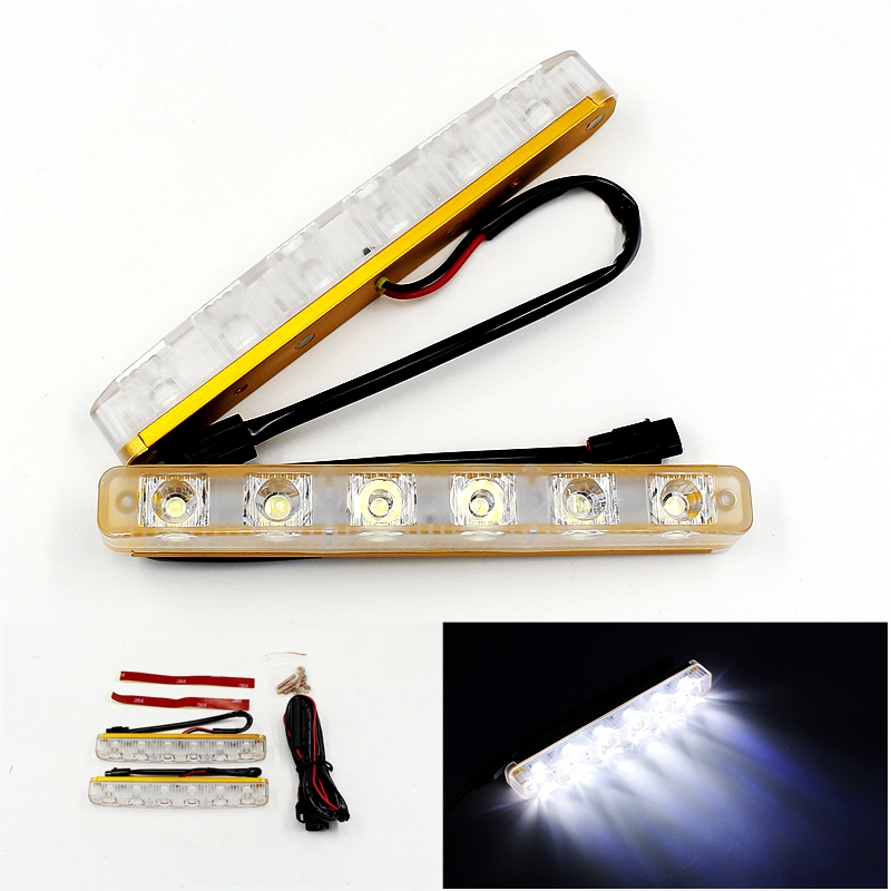 Wholesale 2Pcs/Set DRL Led Daytime Running Lights High Power External Lamp Car Styling Waterproof Fog Lamps Metal Golden Housing<br><br>Aliexpress