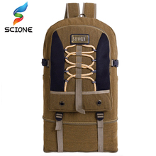 Large Capacity Outdoor Sports Backpack Camping Adjustable Size High Quality Canvas Travel Rucksack Hiking Athletic Sport Bags(China)