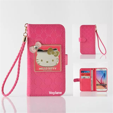 Fashion Women Girl Lanyard Hello Kitty Flip Wallet Stand Leather Case For Samsung Galaxy S7/S6/S6 Edge With 6 Card Holders Cover