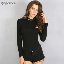 2016 Brand Sexy Bodysuit Jumpsuit Romper Women Black Turtleneck Long Sleeve Cotton Print Bodycon Stretch Body PLNY P1011