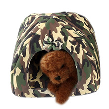 High Grade Camouflage Pet House Dog Cat Indoor Kennel Shelter Puppy Kitten Cosy Hut Bed Cushion Size S-L