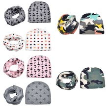 Baby Winter Hat and Scarf 100% Cotton Warm Children Beanies Unisex Boys Girls Kids Infant Baby Caps Scarf Suits(China)