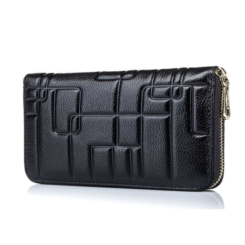 2017 New women long wallets genuine leather embossed fashion zipper wallet head layer cow leather clutch bags business wallets<br>