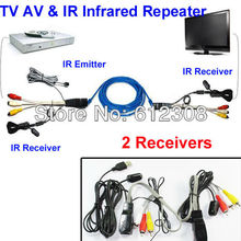 TV Extender AV Repeater Video Audio Transmitter 1 Sender 2 Receiver IR Infrared Repeater Network Cable Connector Cat5 / 6E NU201