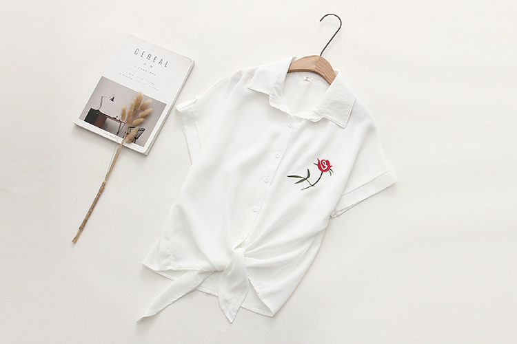 Summer Floral Embroidery Short Sleeve Women Blouses White Shirt Linen Coon Casual Loose Blouse Womens Tops Blusas             6