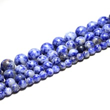 "Natural Stone Beads Aaa+ White Dot Blue-vein Sodalite  4 6 8 10 12mm Strand 15"" Diy For Jewelry Making Bracelet Free Shipping"