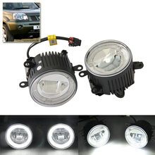 Fit Nissan X-Trail NAVARA CABSTAR ELGRAND SAFARY FRONTIER Led Fog Lamp Assembly Kits W/Guide Angel Eyes DRL Halo Rings Kits