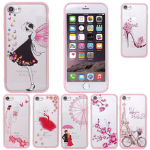 New Arrival Case Cover Skin for iphone 7 7Plus Plus Cartoon Pink Rhinestone with Lanyard Neck Strap