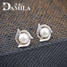 100% AAAA Natural Freshwater Pearl Earrings, Real 925 Sterling Silver Stud earring, 8-11mm Pearl jewelry supplier For women(China)