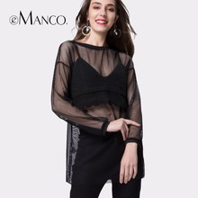 e-Manco 2017 spring Europe and the United States wind women's clothing perspective net yarn Dress(China)
