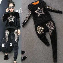 Velour Fleece Warm Set Women Tracksuits Winter Autumn Embroidery Wings Beading Stars Tops Pants Suts Clothing Set Hoodies NS715