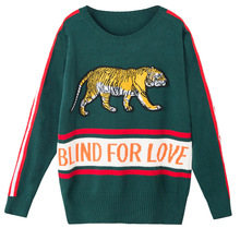 HZLLHX Heavy end tiger Embroidered Sweater dark green yellow 2 colors women loose pullover handsome knit top jumnper long-sleeve(China)
