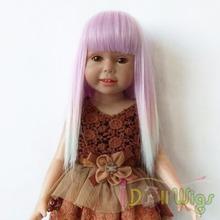 Baby Purple White Ombre Hair Straight Heat Resistant Wigs for 18'' Height American Girl Doll with 26cm Head