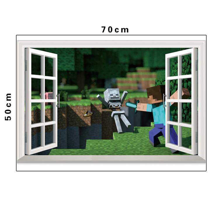 HTB1pM96b3vD8KJjSsplq6yIEFXaJ - Removabled 3D Wallpaper Decals Minecraft Wall Stickers For Kids Rooms  Minecraft Steve Home Decor Popular Games Mural