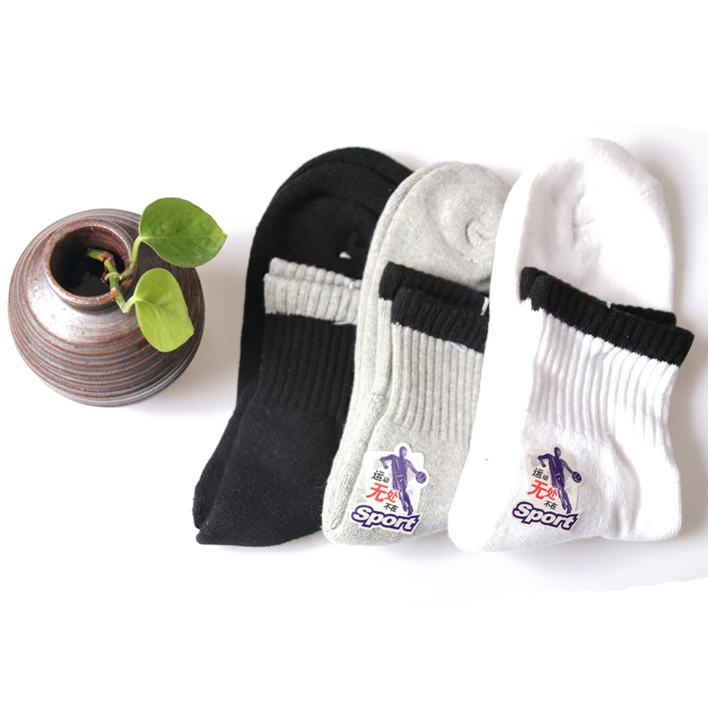 3 Pairs 3 Colors One Size Cotton Sport Men Socks Anti-odor Towel Terry socks Thick Warm Knee-High for Outdoors<br>