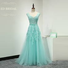 A Line Beaded Lace Appliques Mint Green Tulle Long Prom Dress Custom Made Formal Gown Evening Party Dress abendkleider(China)