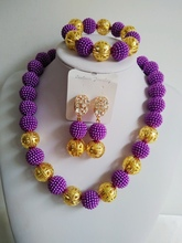 Hot Selling! Nigerian Wedding Beads African Wedding Beads Jewelry Set Plastic Pearl Purple Costume Jewelry Set ABE1250