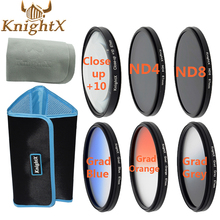 KnightX 58 mm filter Graduated ND Color Lens Filter set for Canon Nikon d60 d7000 d7100 d5300 Sony DSLR Camera  52mm 62mm 67mm