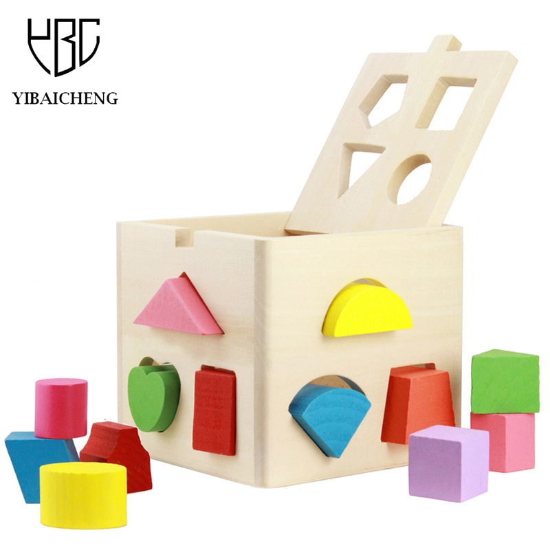 13 Hole Building Blocks Children s Educational Toys 3D Shape Of The Model Building Blocks Wooden Sorting Box Toys For Children<br>