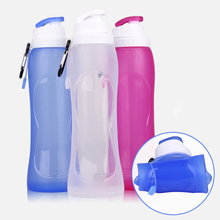 Silicone Foldable Water Bottle 500ml Top Grade Silicone Water Bottles for Travel Outdoor Sport Drop Shipping