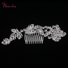 Wedding Bridal Floral Hair Comb silver plated rhinestone leaves girl wedding hair long shinny design hair combs RE672